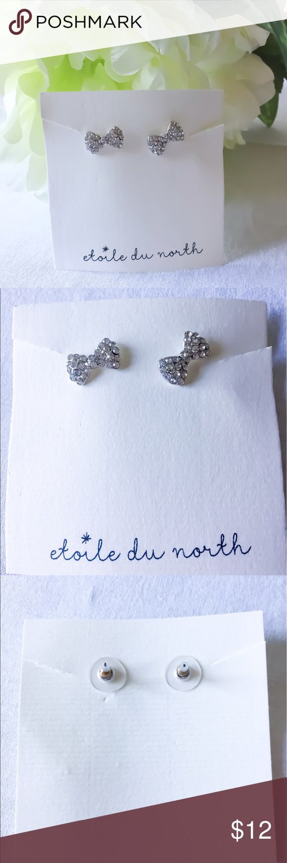 Bitty Silver and Diamond Encrusted Bow Earrings! Bitty Silver and Diamond Encrusted Bow Earrings! New! Very Kate Spade! Jewelry Earrings