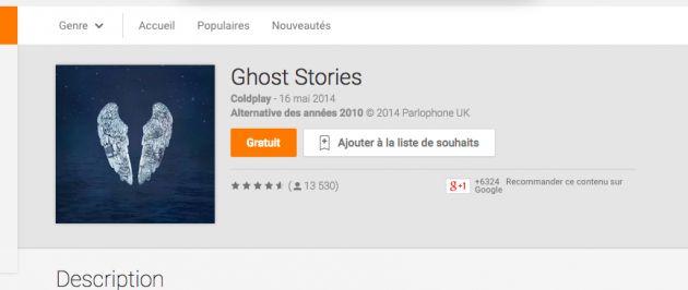 L'album Ghost Stories de Coldplay est gratuit sur Google Play - http://www.frandroid.com/bons-plans/271546_lalbum-ghost-stories-de-cold-play-est-gratuit-sur-google-play  #Bonsplans, #GooglePlay