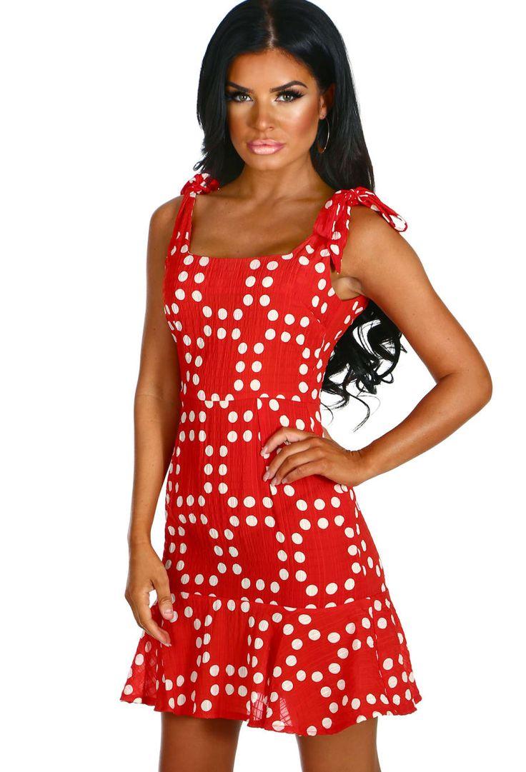 Sugar Sweet Red Polka Dot Frill Hem Mini Dress | Pink Boutique