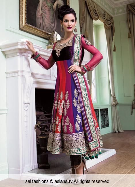 Shades of red -simple anarkali