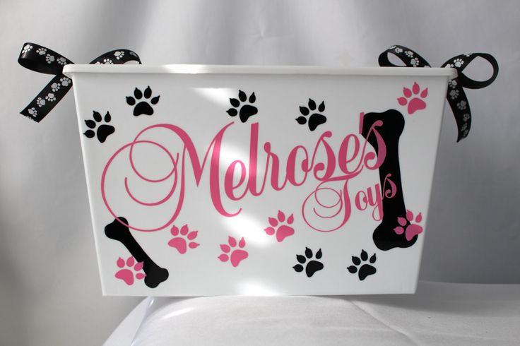 Personalized Dog toy box, Cat, Pet Storage, Bin, Toy box, Pet supply container. by ShopElainesCrafts on Etsy https://www.etsy.com/ca/listing/252254329/personalized-dog-toy-box-cat-pet-storage