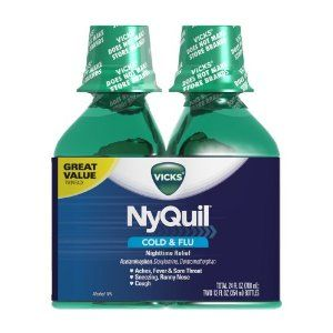 Vicks 44 Nyquil Cold and Flu Relief Liquid, Original Flavor, 24 Ounce, 2 Count by Vicks. $18.33. Temporarily relieves common cold and flu symptoms including cough due to minor throat and bronchial irritation, sore throat, headache, minor aches and pains, fever, runny nose and sneezing. When using Dayquil or Nyquil products, carefully read each label to insure correct dosing use as directed keep out of reach of children. Nyquil liquid is available in three flavors ori...