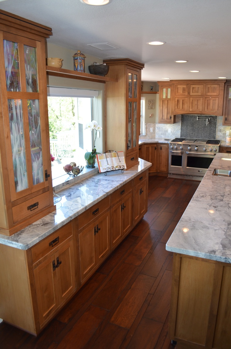 Traditional kitchen seattle by canyon creek cabinet company - Craftsman Kitchen Moon Night Granite Walnut Floors