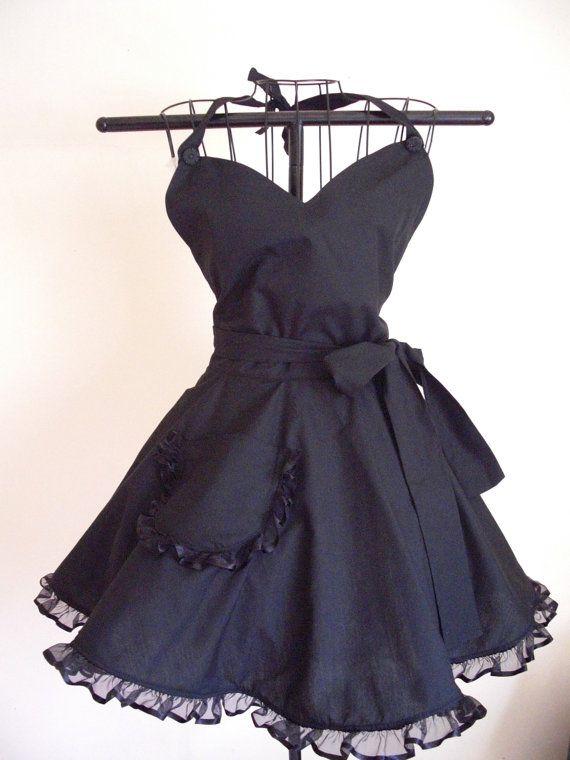 PLUS SIZE Black Retro Apron Classy Little Black Apron Circular Skirt Full Figure