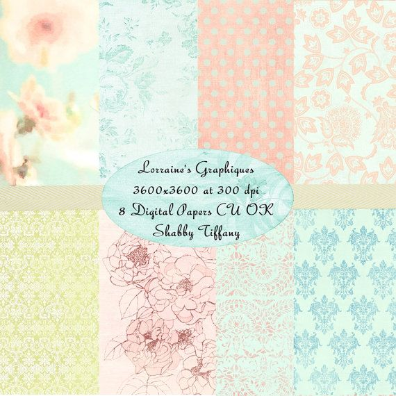 Shabby Tiffany Blue:  A Shabby Chic Floral Watercolor Inspired Digital Paper Set