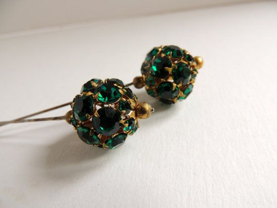 2 rhinestone vintage hat pins vjse on etsy 39 00 cool