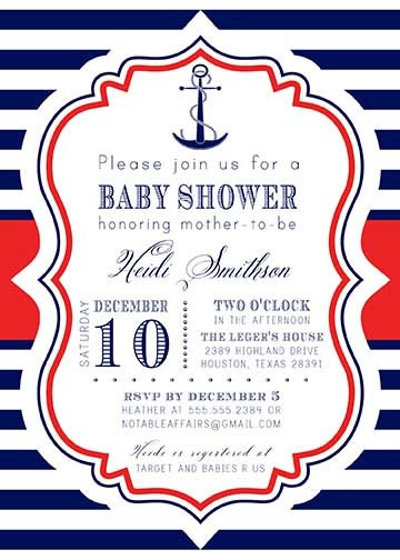 PRINTABLE Anchor Nautical Sailing Navy Red Stripes White baby shower or birthday party invitation - colors and wording can be changed. $15.00, via Etsy.