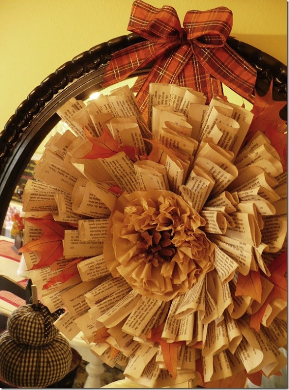 How to make a book page wreath and decorate with pumpkins — A Cultivated Nest
