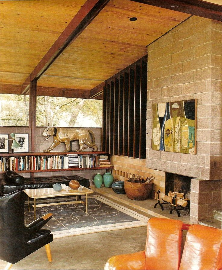 BOOKSHELVES ON WALL -- Los Angeles Times Magazine. Vintage interior design, mid-century modern architecture. Post & Beam