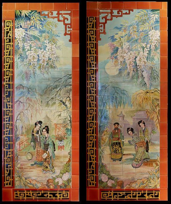Paire de panneaux décoratifs, début du XXème - GALERIE VAUCLAIR #wickers #galerievauclair #paris #rattan #gallery #rotins #paulbertserpette #jardindhiver #conservatory #fleamarket #ceramics #japonism