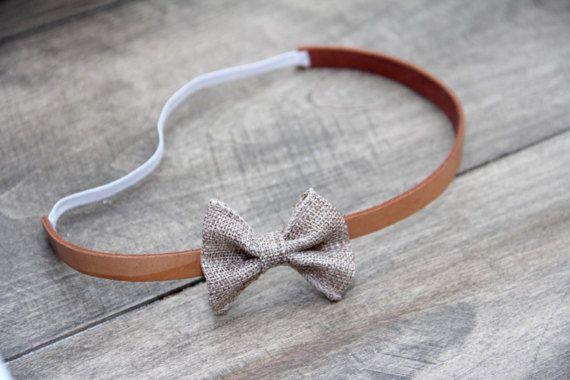 Leather Headband Burlap bow Headband by BabyFripperies on Etsy