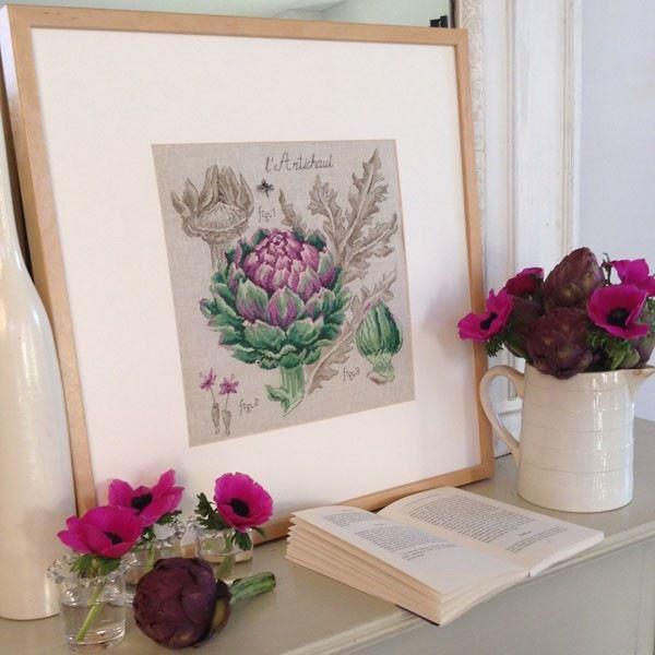Cross stitch - flowers: botanicals - Cynara scolymus - artichoke (free pattern with chart)