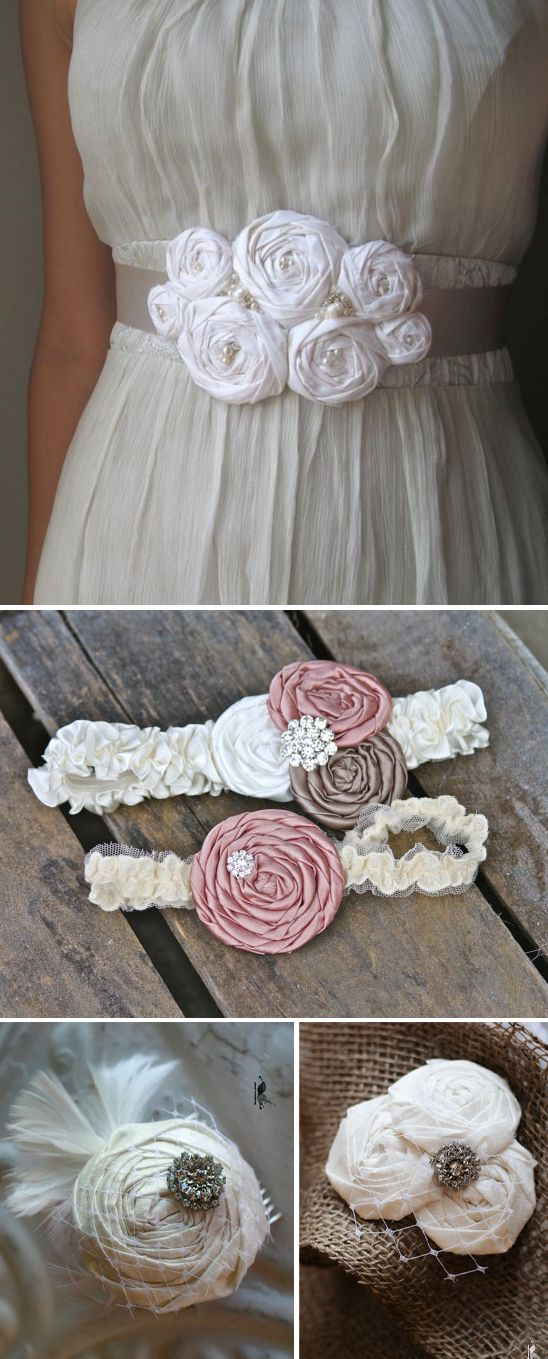 DIY Fabric Rosette Accessories- great for weddings, clothing, accessories and home decor. @Angela Ashton You should do an Etsy shop with just your flowers and do BRIDAL accessories! ♥