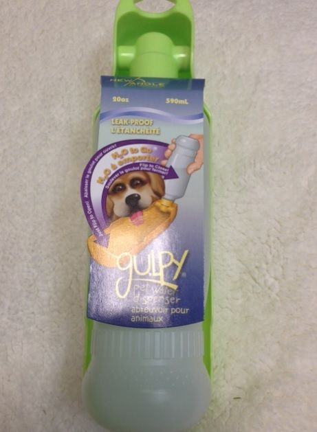 Gulpy!   Water bottle with fully attached hinged bottom allowing your pet to drink out of conveniently! Gulpys come in 10oz or 20oz and different colors