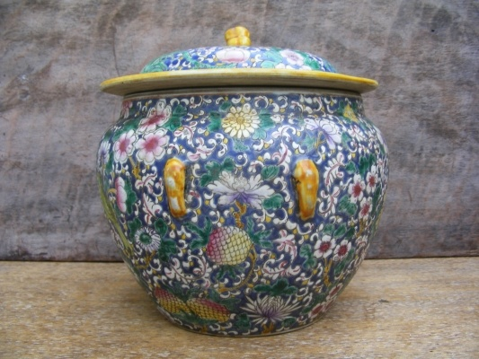 RARE BLUE KAM CHENG ~Peonies & Bird Nyonya Ware pot#7 For Sale | Antiques.com | Classifieds