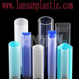 LED light Tube Description: 1. PMMA/PC extrusion led light tube, polycarbonate diffuser, acrylic led housing; 2. High clarity, UV resistant, impact resistant. ROHS compliant. http://www.lansunplastic.com/