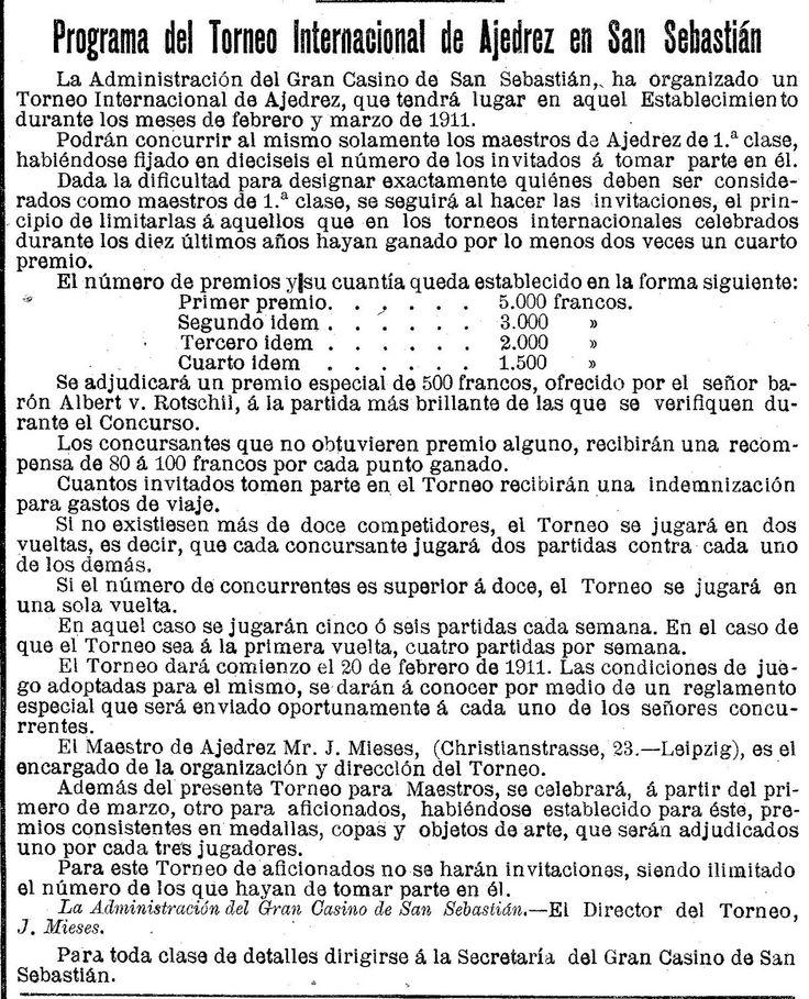 Torneo internacional de ajedrez. 1911