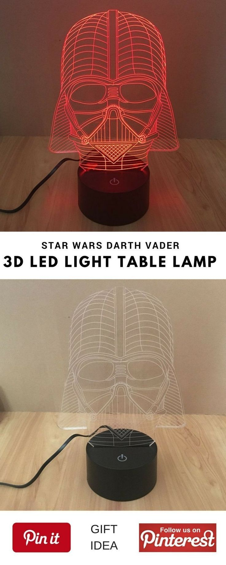 3d Star Wars Darth Vader LED Light Table Lamp Night Light Kids Room Bedroom. This could be a great best gift for geek friend,  mother's or father's day, birthday for women or men, girls, boys and little kids, christmas, girlfriend, boyfriend, couples, valentine, bridesmaid, graduation, weeding, engagement and retirement. It's an inexpensive great meaning present and personalized for any funny guys anniversary. #geek #cheap #unique #weird #DIY #unusual #homemade #online #coolideas #shop Are