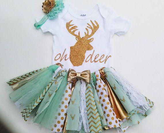 Deer TuTu Set1st Birthday First Birthday Tutu by Janslittlehearts  Love the shirt!