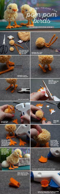 DIY Handmade: Kurczaczki, kaczuszki z pomponów - DIY