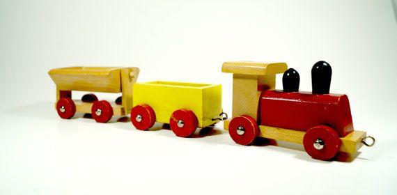 Tren de madera Vintage tren de madera Set juguete Vintage