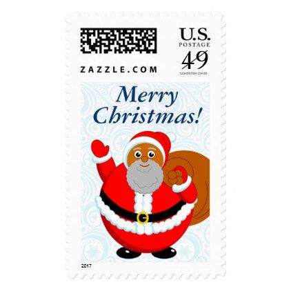 Fun modern cartoon of a jolly Black Santa Claus Postage - New Year's Eve happy new year designs party celebration Saint Sylvester's Day