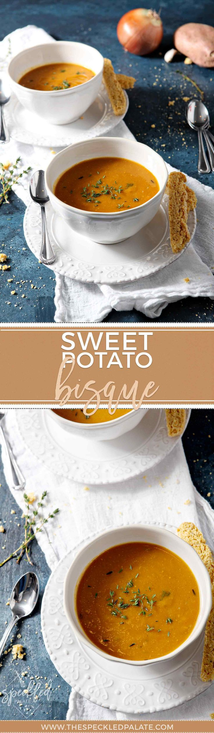 Sweet Potato Bisque is an amazing Vegetarian soup that can be made Vegan, Paleo or Whole 30! #soup #sweetpotato #vegetarian #vegan #whole30 #paleo