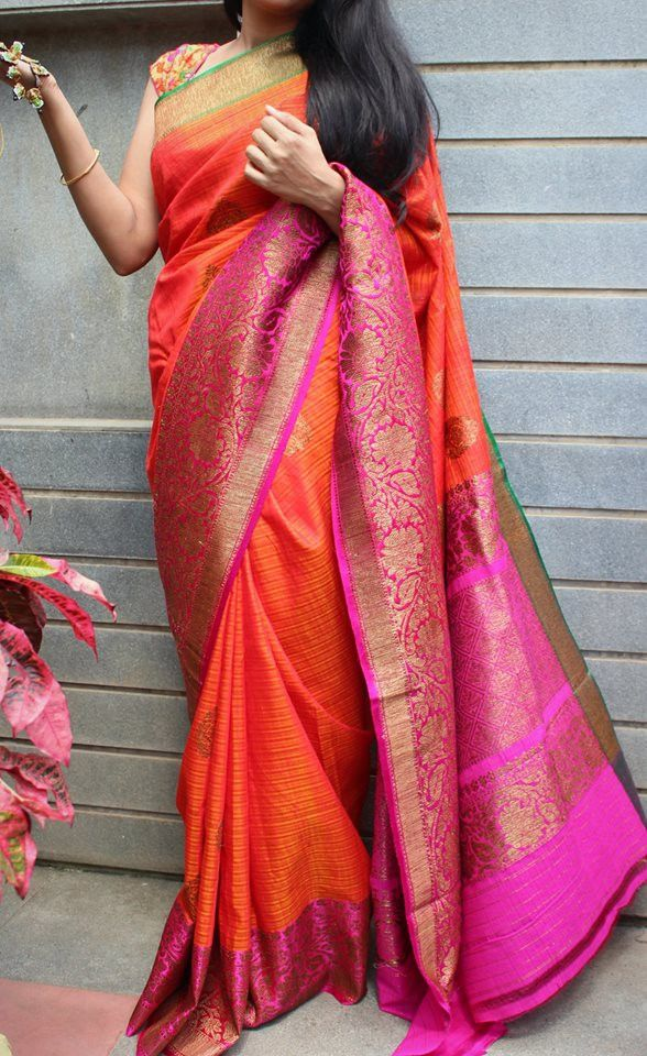 Bright orange banaras dupion silk saree with contrast border with antic gold…
