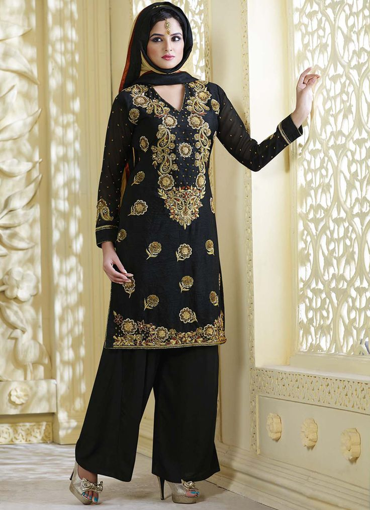 Black designer wholesale salwar kameez