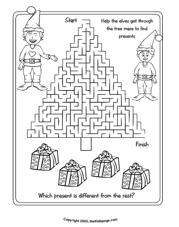 christmas tree maze free coloring pages for kids printable colouring sheets - Free Color Sheets For Kids