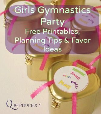 Includes Free Printables and Planning Info! This year my girls wanted a gymnastics-themed birthday party.To begin planning I researched