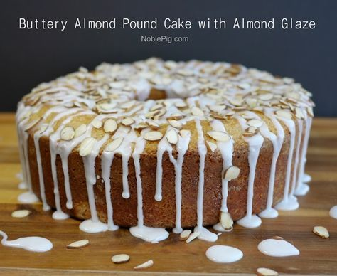 Buttery Almond Pound Cake with Almond Glaze. You will never make another pound cake recipe...forever. From NoblePig.com