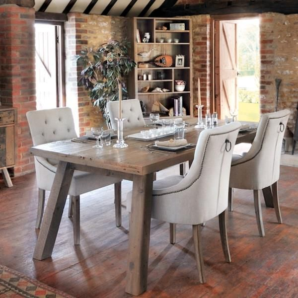 Nilsson Rustica Reclaimed Wood Dining Set With Cream Chairs With