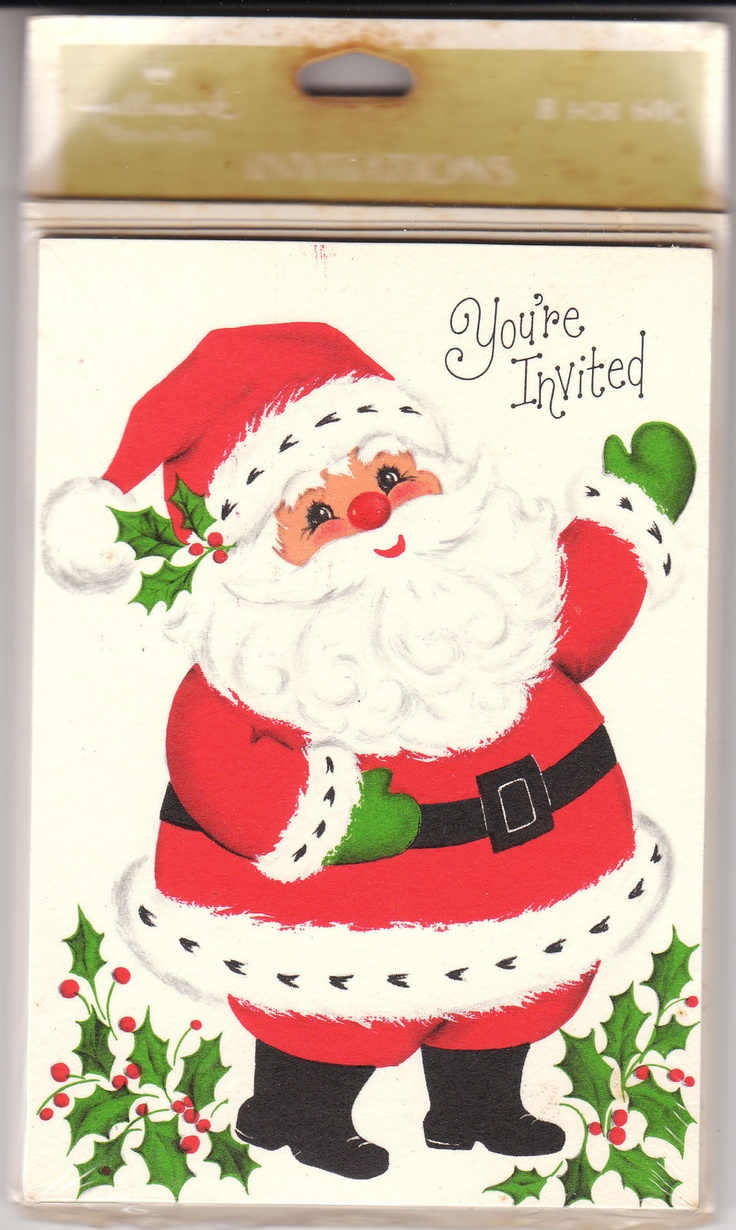 Vintage christmas party invitations - Vintage Hallmark Christmas Party Invitations Featuring Santa Claus