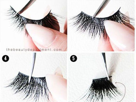 How to apply fake eyelashes to make eyes look bigger; False lashes application hacks, tips, tricks; Falsies tutorials for beginners