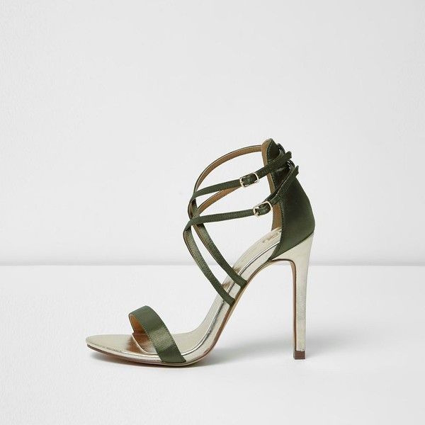 River Island Khaki green satin caged sandals ($70) ❤ liked on Polyvore featuring shoes, sandals, khaki, shoes / boots, women, green sandals, open toe sandals, cage sandals, green satin shoes and green high heel sandals