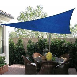 Outsunny 16.5u0027 Triangle Outdoor Patio Sun Shade Sail Canopy   Blue