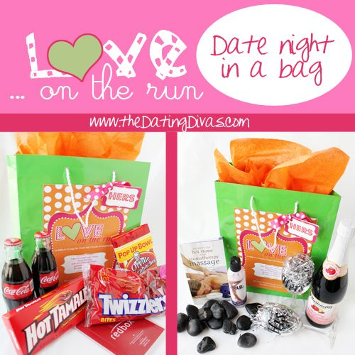 FREE, cute printable for date night in a bag.  Could it be any easier?   www.TheDatingDivas.com #datenight #freeprintable #datingdivas