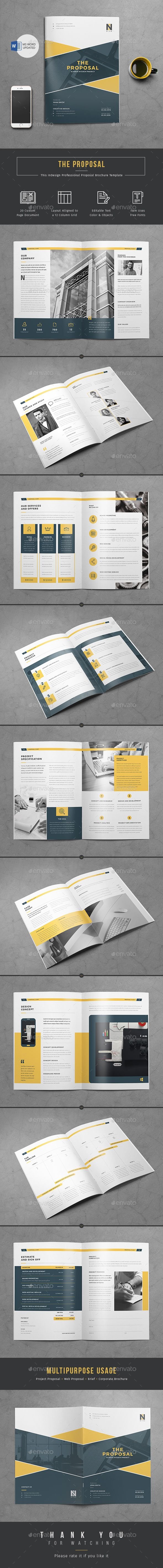 Company project #proposal template for those who wants to make a proposal to perspective client in a short time. This 20 page indesign proposal template has master page and color sawatches that will help you to customize quickly. Go for this professional look proposal template you will definitely save your money as well as time. For easy and quick editing you will have MS Word version for #Free with this modern proposal Brochure.