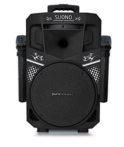 Pure Acoustics Wireless Portable Bluetooth PA Audio Speaker with 2 Wireless Microphones FM Radio Party Karaoke Machine Sound System MCP-75 Suono Soundstream Black & Black Gril