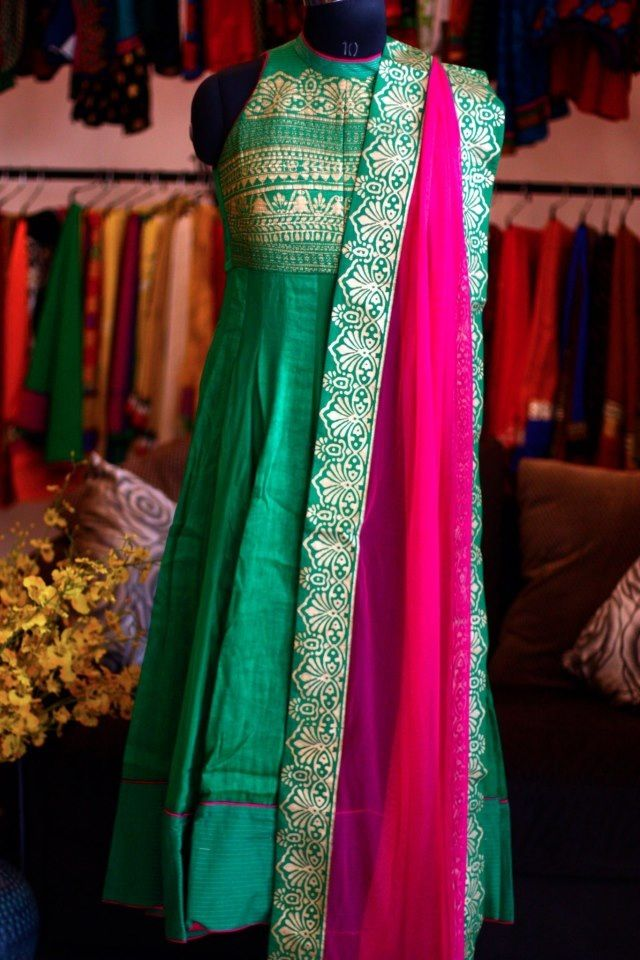 It's refreshing to go all the way once in a while. Just bright, bold and traditional. Honestly, try it. :D #salwar #green #pink