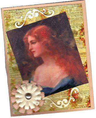 VICKI ROMAINE Cheerful Stamp Pad Image from Lunagirl Women & Men CD Lunagirl Moonbeams by Lunagirl Vintage Images