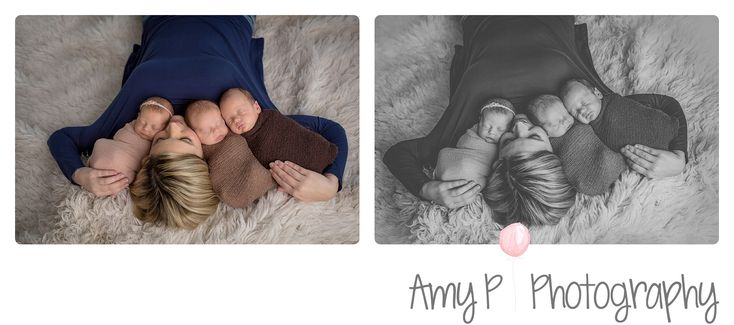 Triplet photography | Siblings | Brother | Sister | Fur backdrop | Swaddled together | Newborn | Newborn Photos | Newborn photography | Newborn Photographer | Mom and Kids photo | parent