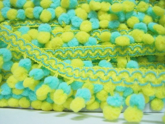 5 Yards MINTBRIGHT YELLOW Mini Pom Pom Trim pom pom by ichimylove, $6.50