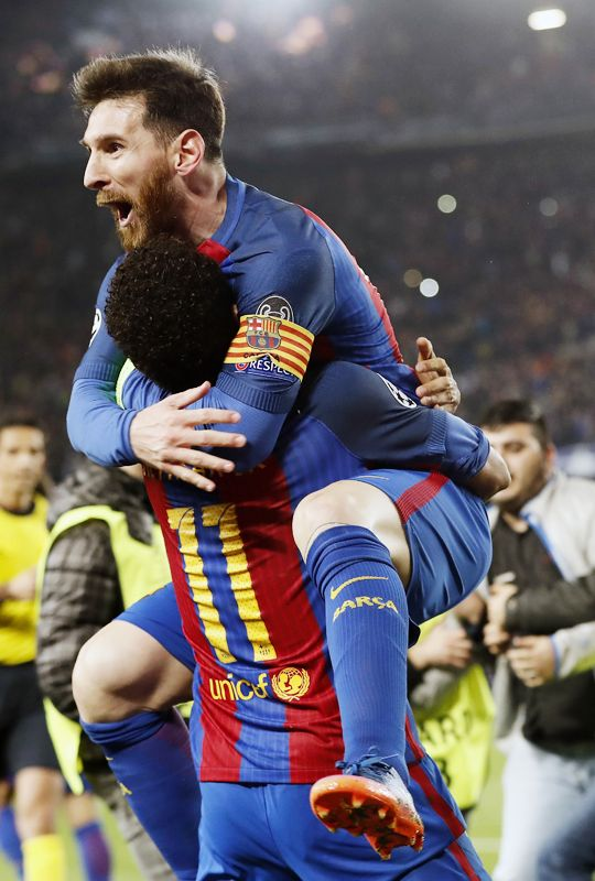 """xavihernandes: """"Neymar of FC Barcelona, Lionel Messi of FC Barcelona during the UEFA Champions League round of 16 match between FC Barcelona and Paris Saint Germain on March 08, 2017 at the Camp Nou stadium in Barcelona, Spain. """""""