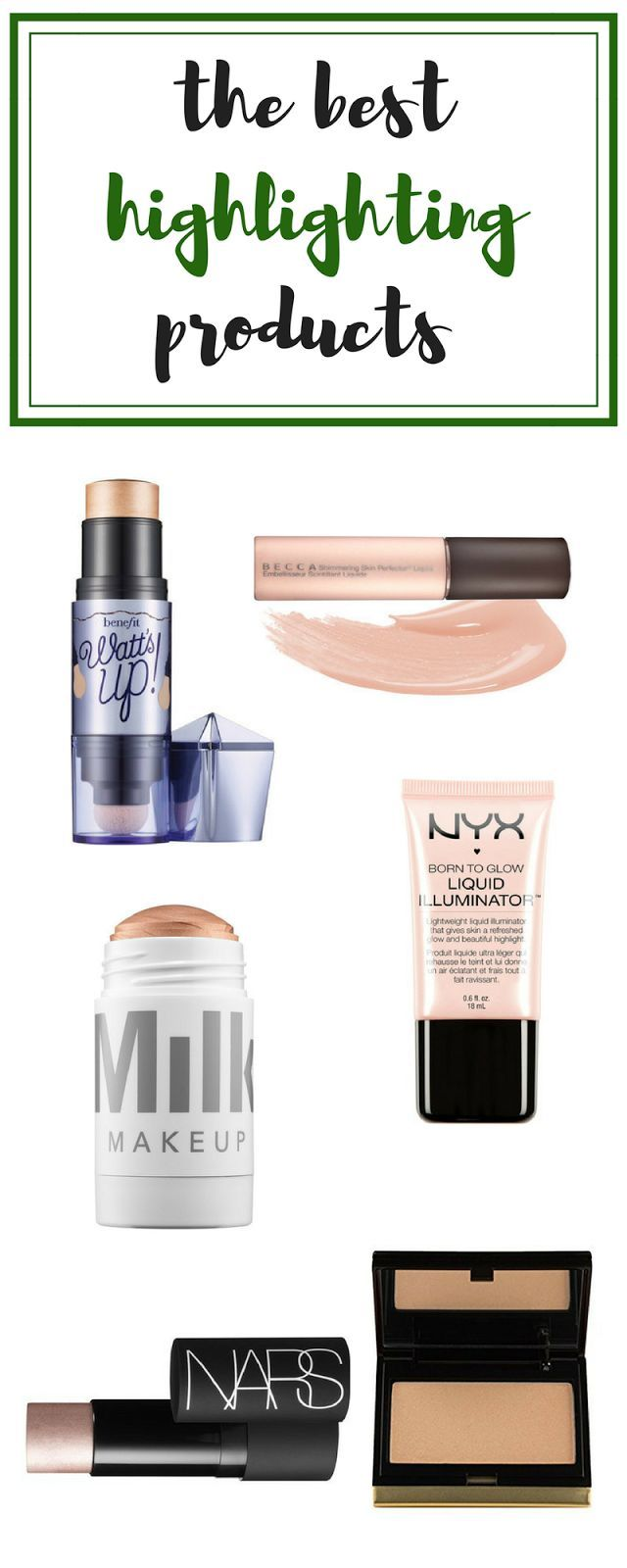 The Best Highlighting Products | Roundup Of The Best Highlighters | Makeup Reivews | BECCA, Watt's Up, Milk Cosmetics. NARS, Kevyn Aucoin
