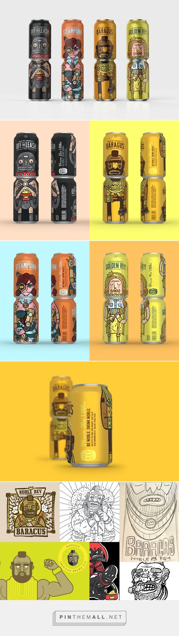 Noble Rey Brewery Co. Cans - cute beer packaging design by Magnificent Beard (USA) - http://www.packagingoftheworld.com/2016/07/noble-rey-brewery-co-cans.html