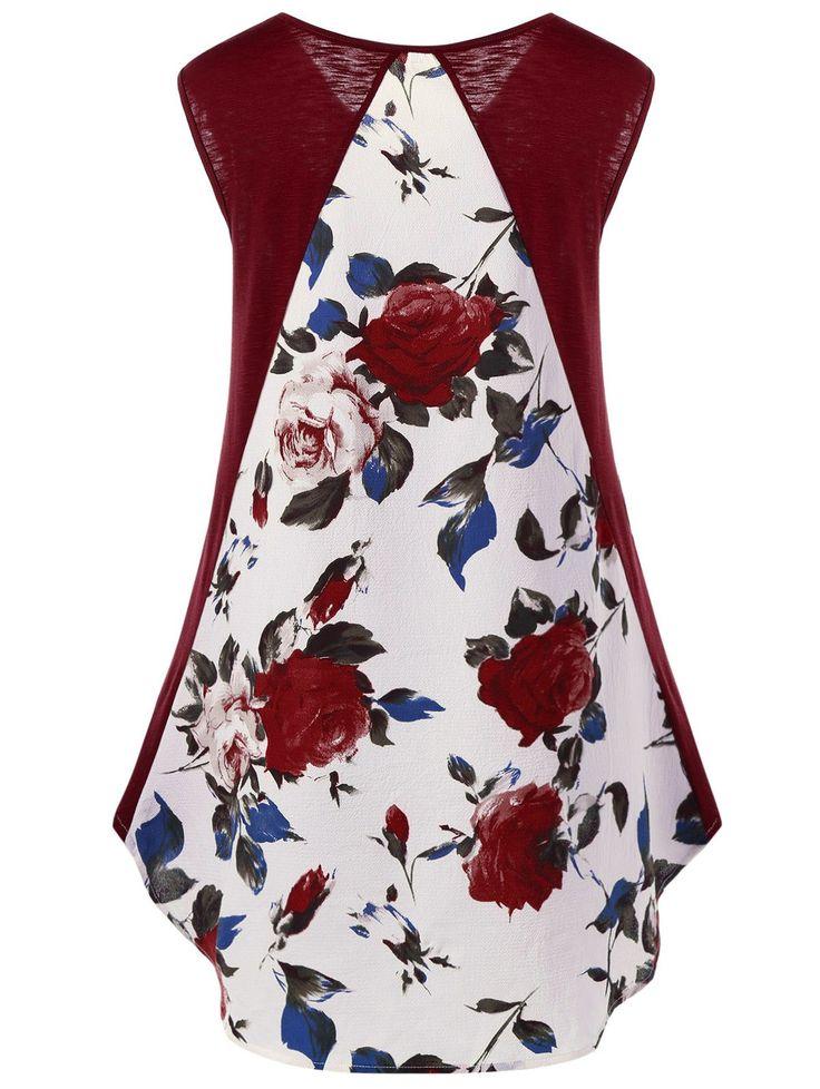 High Low Hem Floral T-Shirt - WINE RED M