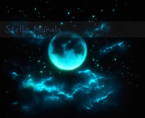Glow in the Dark Poster Painting Moon and Clouds by StellaMurals