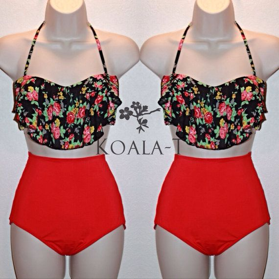 Floral Print Flounce Top & Red High Waist Bikini! LIMITED EDITION!